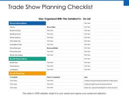 Trade Show Planning Checklist Ppt Powerpoint Presentation File Pictures