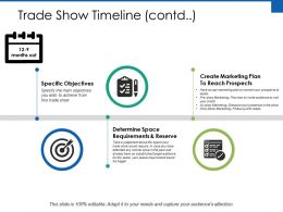 Trade Show Timeline Specific Objectives Ppt Powerpoint Presentation File Show
