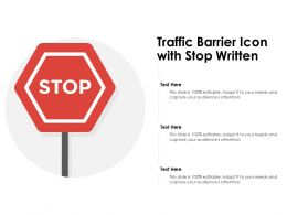 Traffic Barrier Icon With Stop Written