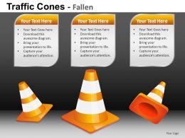 Traffic Cones Fallen Powerpoint Presentation Slides DB
