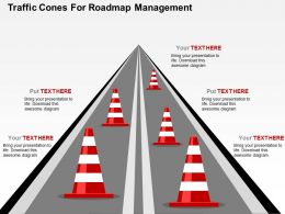 Traffic Cones For Roadmap Management Flat Powerpoint Design