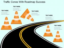 Traffic Cones With Roadmap Success Flat Powerpoint Design