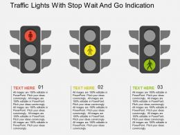 Traffic Lights With Stop Wait And Go Indication Flat Powerpoint Design