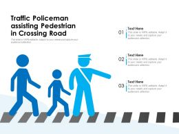 Traffic Policeman Assisting Pedestrian In Crossing Road