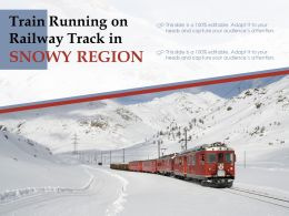 Train Running On Railway Track In Snowy Region