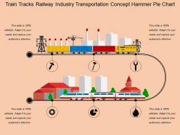 Train Tracks Railway Industry Transportation Concept Hammer Pie Chart