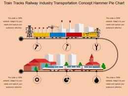 Train Tracks Railway Industry Transportation Concept Hammer Pie Chart