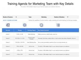 Training Agenda For Marketing Team With Key Details