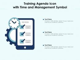 Training Agenda Icon With Time And Management Symbol