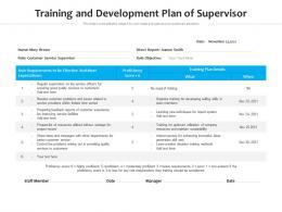 Training And Development Plan Of Supervisor