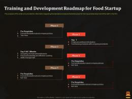 Training And Development Roadmap For Food Startup Business Pitch Deck For Food Start Up Ppt Tips