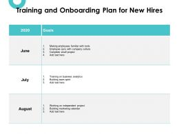 Training And Onboarding Plan For New Hires