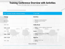 Training Conference Overview With Activities