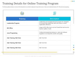Training Details For Online Training Program Office Ppt Powerpoint Presentation Visual Aids
