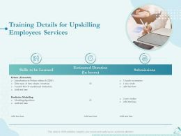 Training Details For Upskilling Employees Services Ppt Powerpoint Graphics Design