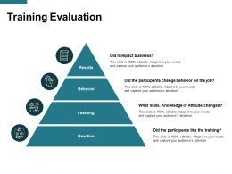 Training Evaluation Behavior Ppt Powerpoint Presentation Icon Clipart