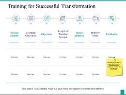 Training For Successful Transformation Ppt Powerpoint Presentation Icon Background Image