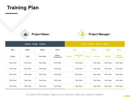 Training Plan Strategy Management Ppt Powerpoint Presentation File Graphics