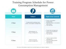 Training Program Schedule For Power Consumption Management