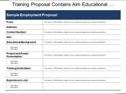 Training Proposal Contains Aim Educational Background Projects And Training Undertaken