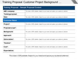 Training Proposal Customer Project Background Approach Timeline And Expectations