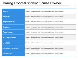 Training Proposal Showing Course Provider Durations Target Group Location