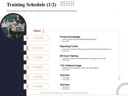 Training Schedule Knowledge Marketing And Business Development Action Plan Ppt Structure