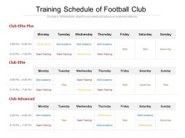 Training Schedule Of Football Club