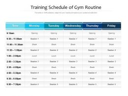 Training Schedule Of Gym Routine