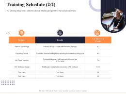 Training Schedule Product Marketing And Business Development Action Plan Ppt Demonstration
