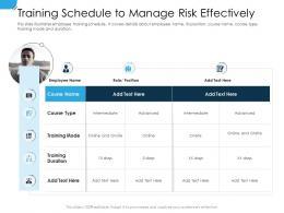 Training Schedule To Manage Risk Effectively Establishing Operational Risk Framework Organization