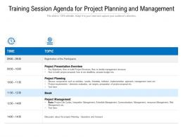 Training Session Agenda For Project Planning And Management