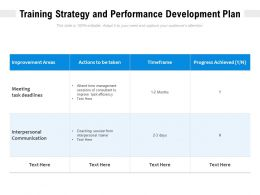 Training Strategy And Performance Development Plan