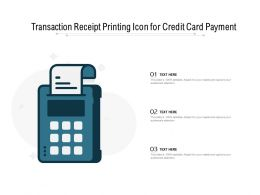 Transaction Receipt Printing Icon For Credit Card Payment