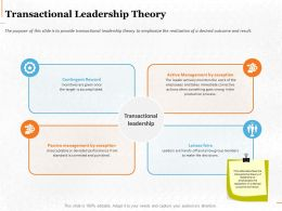 Transactional Leadership Theory Ppt Powerpoint Presentation Summary Smartart