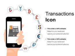 Transactions Icon Powerpoint Presentation