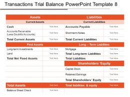 Transactions Trial Balance Powerpoint Template 8