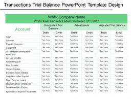Transactions Trial Balance Powerpoint Template Design