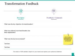 Transformation Feedback Ppt Powerpoint Presentation Icon Clipart