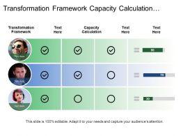 Transformation Framework Capacity Calculation Efficiency Calculation Line Balance
