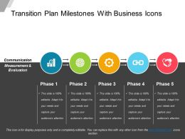 Transition Plan Milestones With Business Icons Powerpoint Show