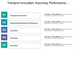 Transport Innovation Improving Performance Resilience Improved Access Better Data