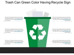 Trash Can Green Color Having Recycle Sign