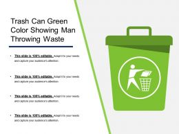 Trash Can Green Color Showing Man Throwing Waste