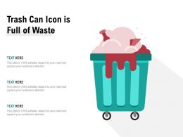 Trash Can Icon Is Full Of Waste