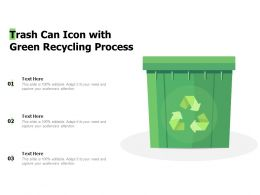 Trash Can Icon With Green Recycling Process