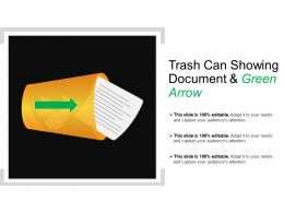 Trash Can Showing Document And Green Arrow