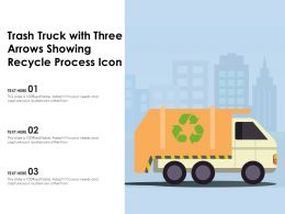 Trash Truck With Three Arrows Showing Recycle Process Icon