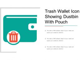 Trash Wallet Icon Showing Dustbin With Pouch