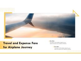 Travel And Expense Fare For Airplane Journey
